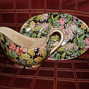 "Lord Nelson Chintz "" Black Beauty ""  Sauce Boat & Liner"