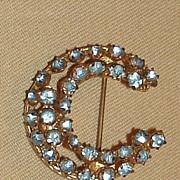 Vintage Czechoslovakia Crescent Moon Brooch -Blue Stones