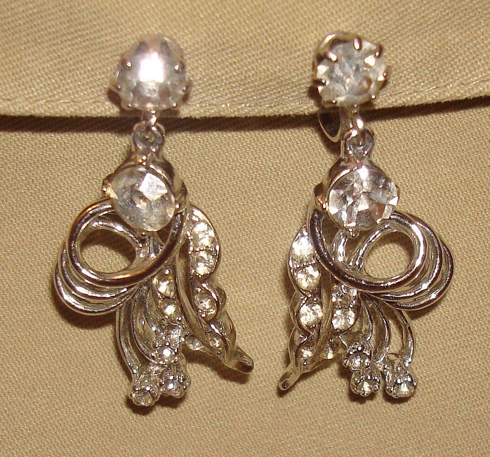 Vintage Rhinestone Drop Earrings Silver Metal