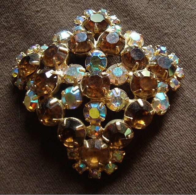 Vintage Multi Colored  Rhinestone Brooch