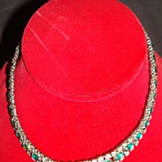 Vintage Clear & Emerald Rhinestone Necklace