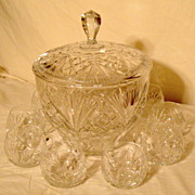 Vintage German Brilliant Cut Crystal Punch Bowl and 10 Cups