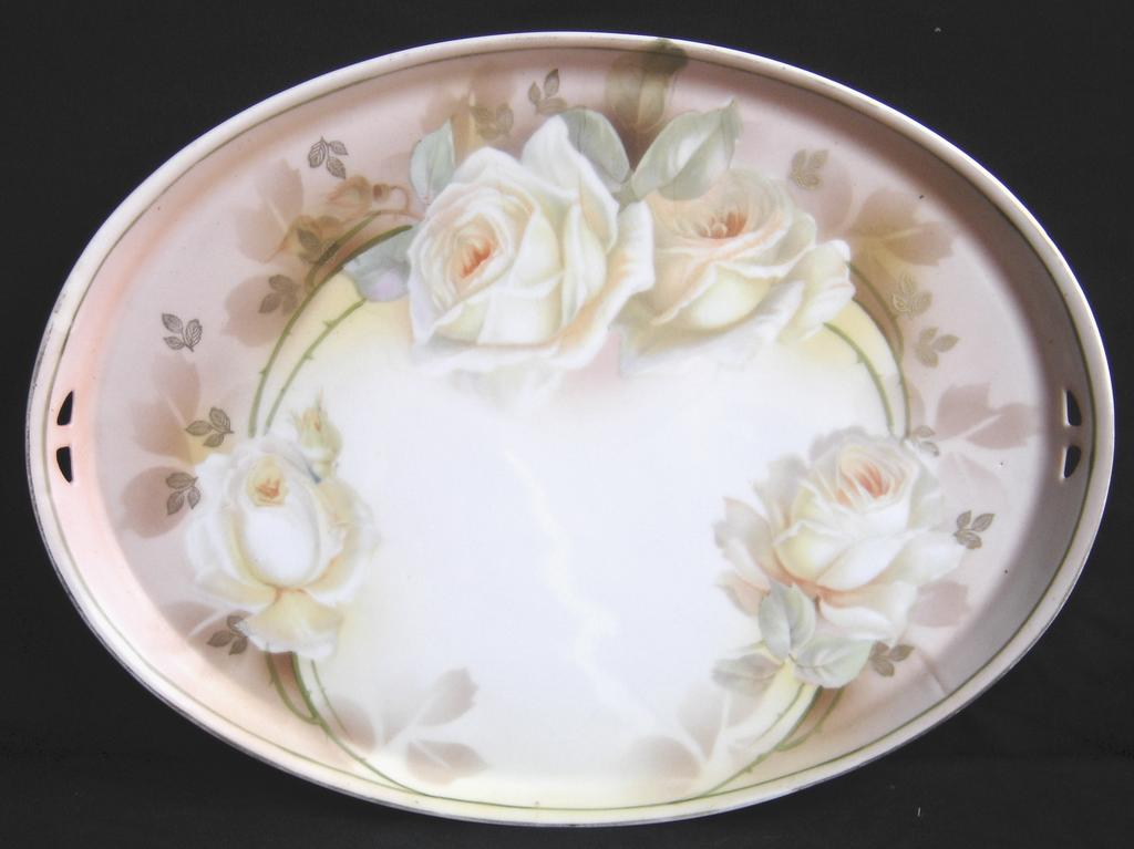 R S Prussia Hand Painted Vanity Tray - Roses