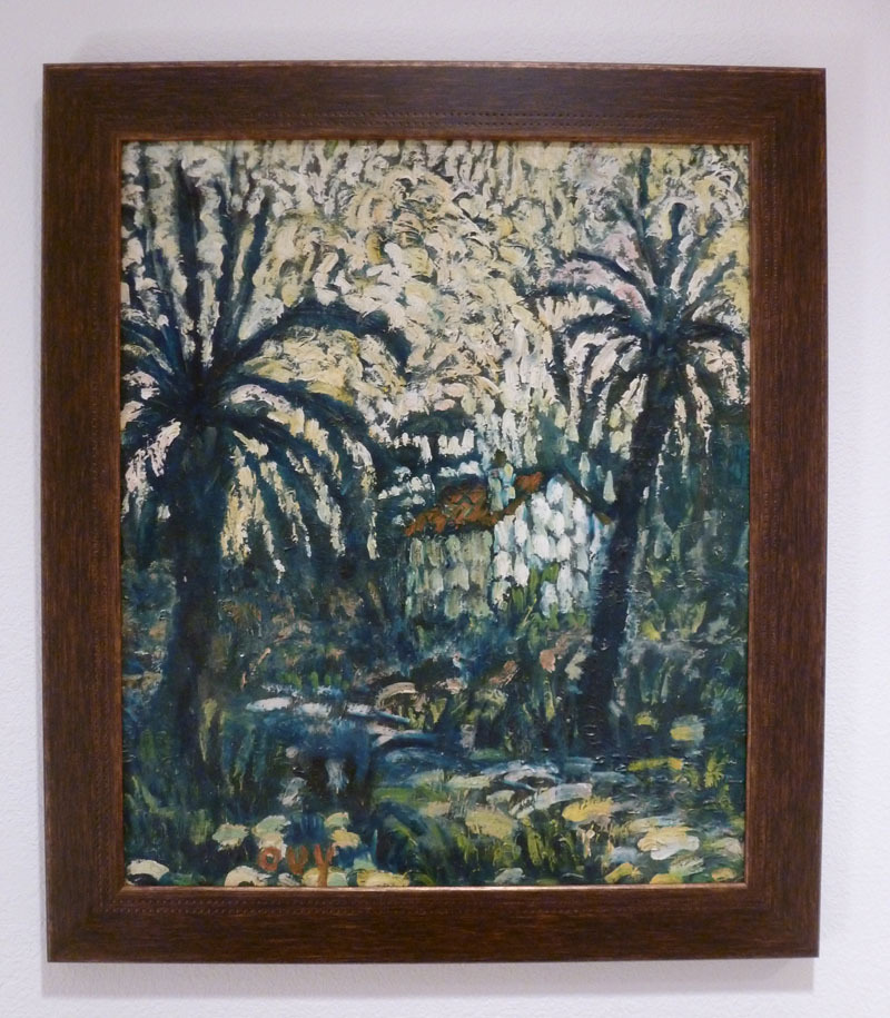Oil painting on masonite by OUY - Provencal landscape with palm trees