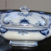 19th century - Small blue & gold serving porcelain dish by Hamilton