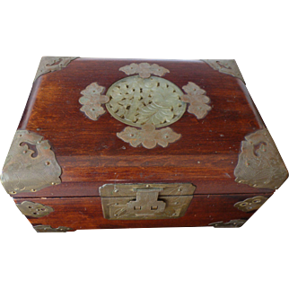 Chinese rosewood and brass jewelry box with jade medallion