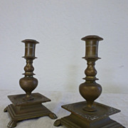 Pair of Austrian bronze candleholders