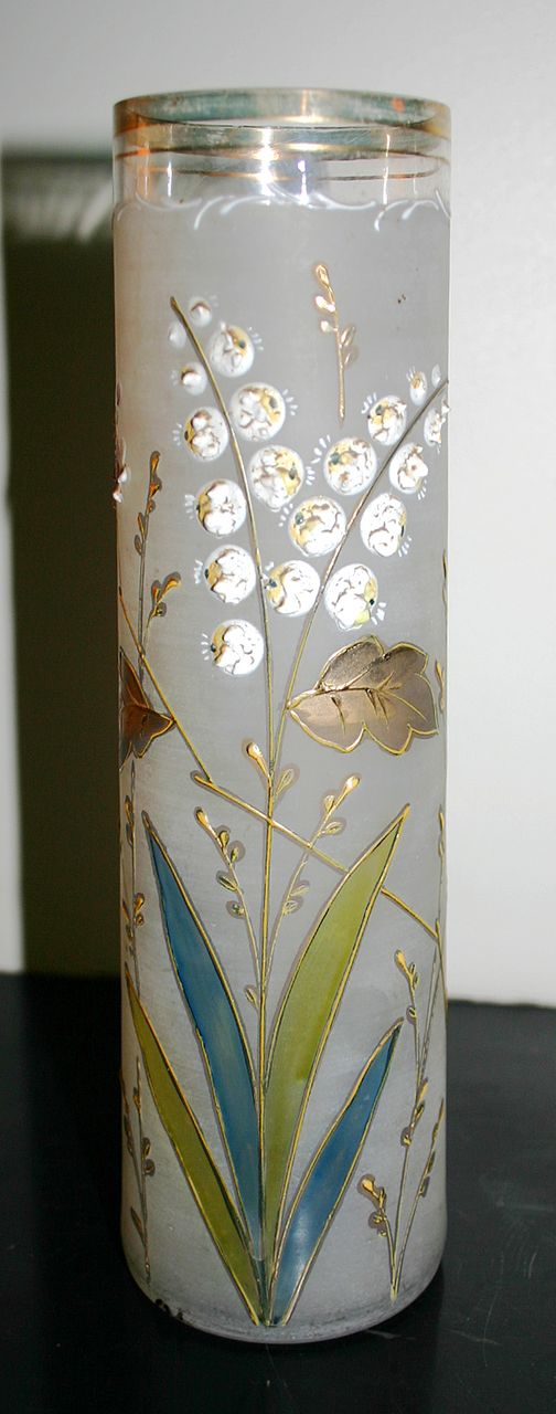 Early 1900's - French hand painted enameled vase