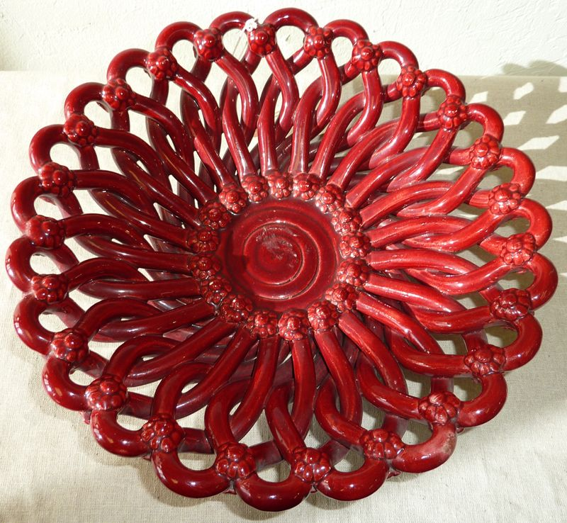 Pierced Vallauris red bowl