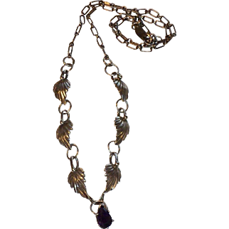 Navajo sterling necklace with amethyst pendant