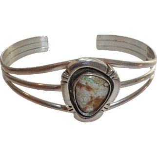 Navajo sterling and boulder turquoise cuff bracelet