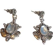 Sterling and moonstone CORO drop earrings
