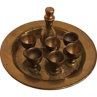 Brass miniature set: tray, with wine bottle and six wine glasses