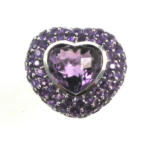 Amethyst and 14K white gold ring