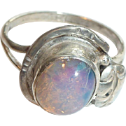 Hat shaped sterling and opal ring