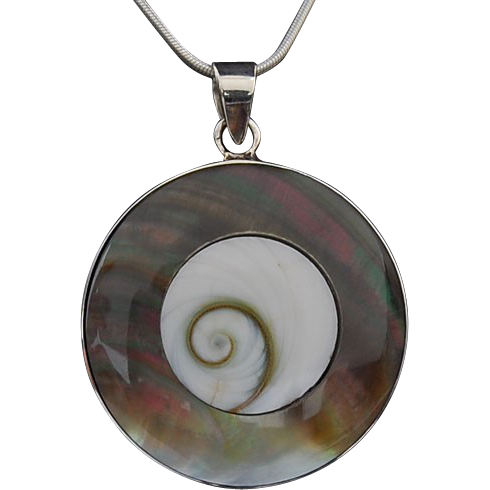 Shell and mother of pearl pendant and earrings