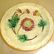 19th century English majolica footed dish