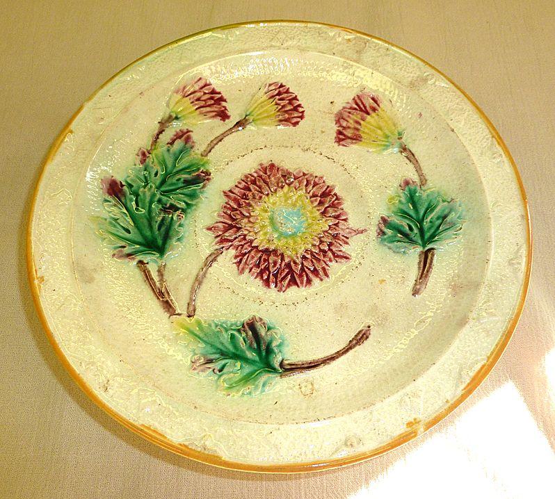 19th century English majolica footed dish