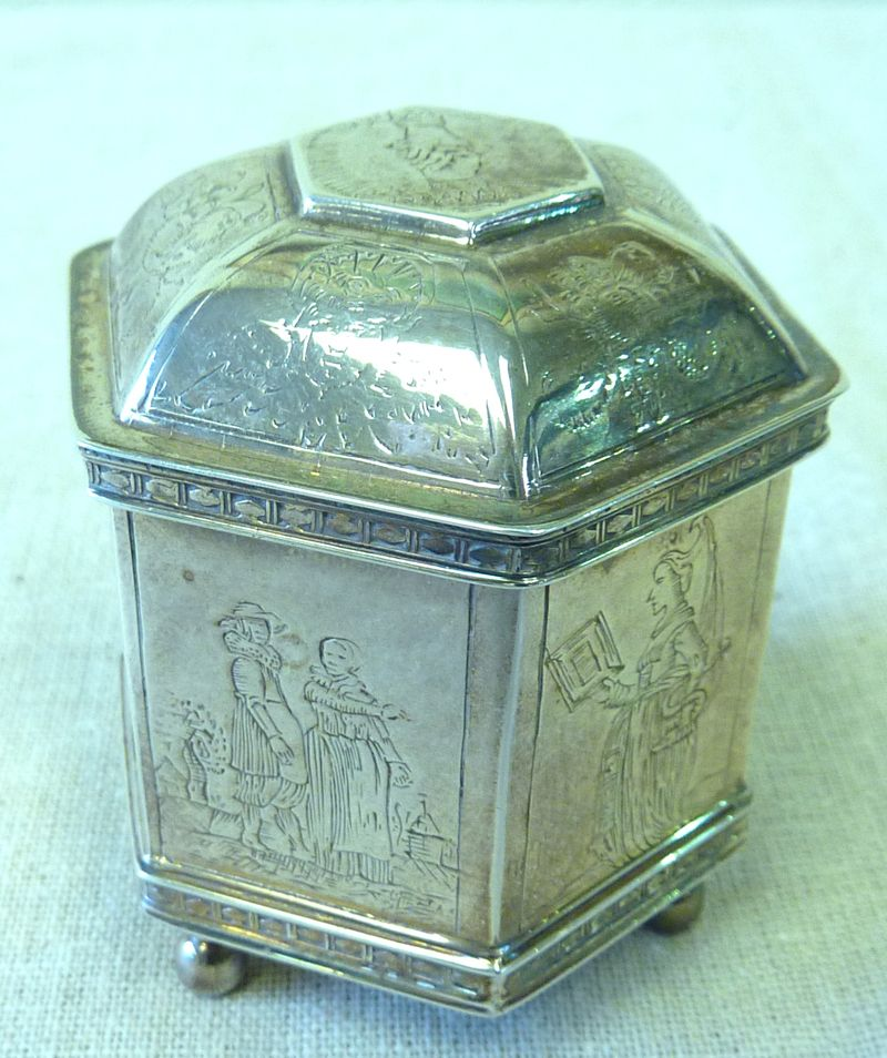 Small sterling octagonal wedding box
