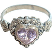 Heart shaped sterling silver ring with pink stone