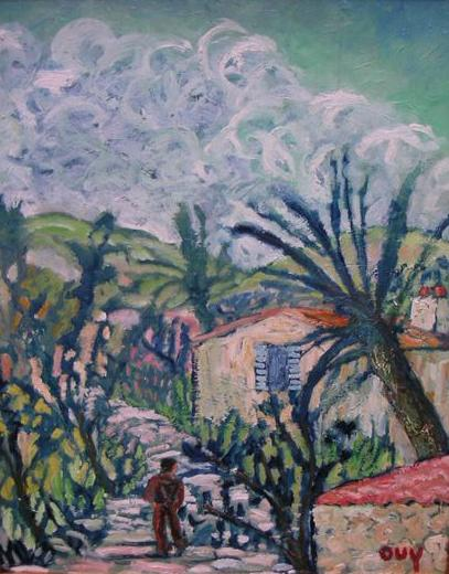 Oil painting on masonite by OUY - Provencal village