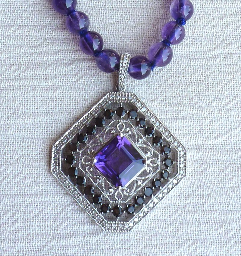 Sterling silver, Amethyst, and Diamond necklace