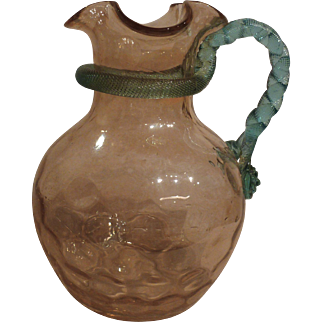 Victorian art glass water pitcher