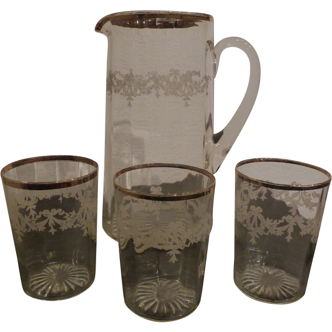 Pitcher and water goblets set