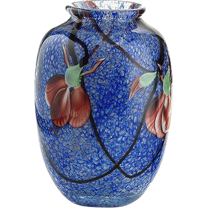 L. Hudin and S. Beyers orchid art glass vase