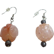 Pair of carved pink agate drop earrings
