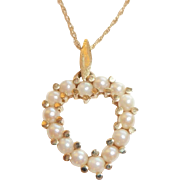 14k Gold Seed Pearl Heart Pendant on a 14k yellow gold chain