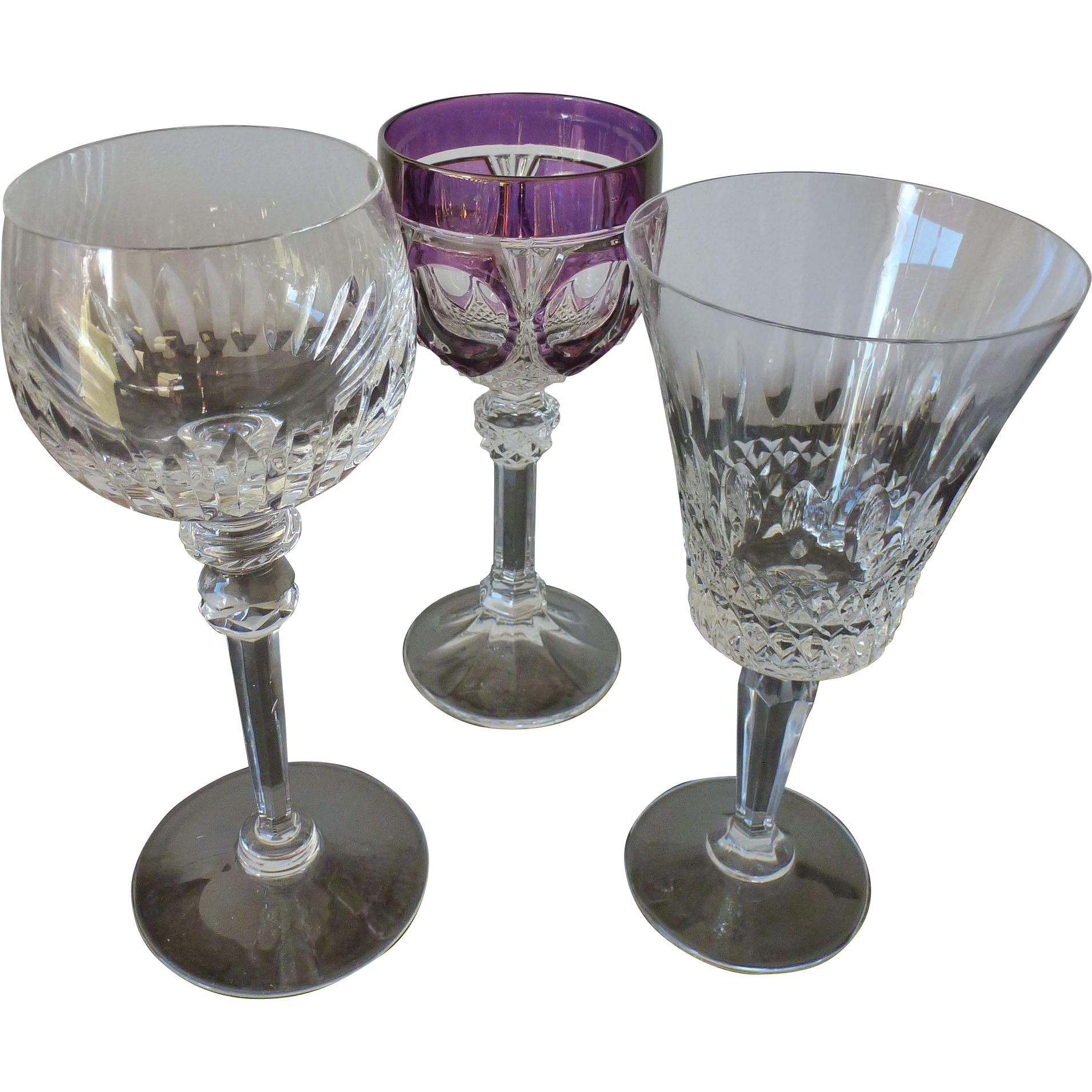 Set of 3 assorted crystal glasses