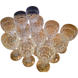 Set of 12 19th century crystal sherry glasses