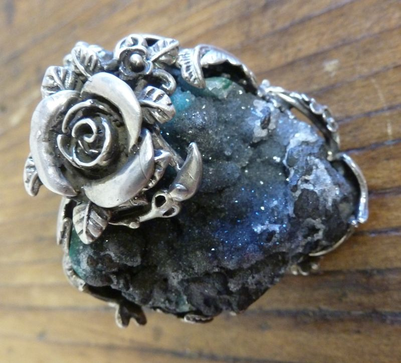 Bold sterling silver and druzy ring