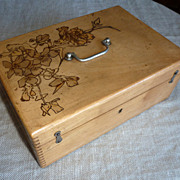 French lacquered elm wood box with wood burning work on top