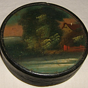 Papier-mâché Snuff  Box With Landscape Painting on Lid – Mid-1800's