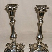 English Silverplated Candlesticks – Early to Mid-19th Century