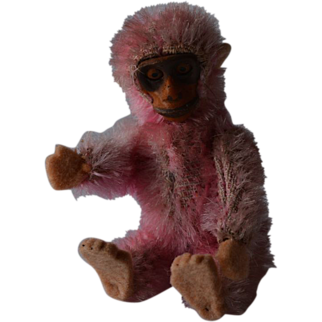 Rare pink mohair Schuco monkey from ca. 1930