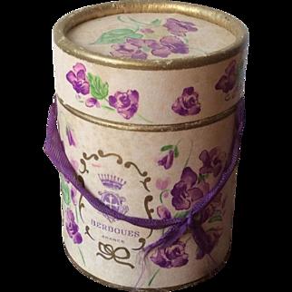 """Antique French round box """"Violettes de Toulouse"""""""