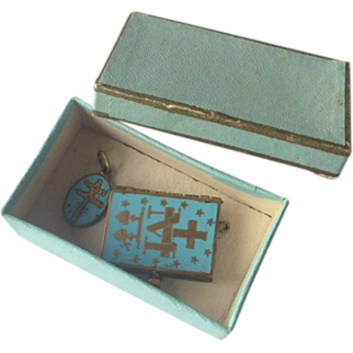 Rare antique gilded enameled book & matching pendant for French fashion doll!