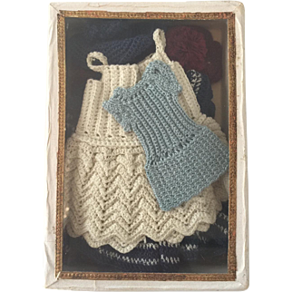 Wonderful old crocheted dresses for all-bisque dolls Mignonette or googly