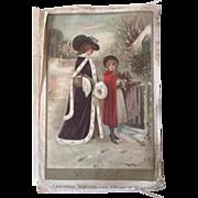 The Princess of Wales 1899 Silk portrait & Winter Scene 1902 RARE