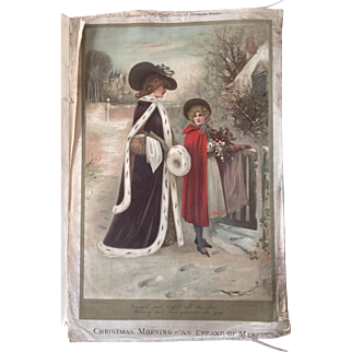 The Princess of Wales 1899 Silk portrait & Winter Scene 1902 RARE