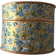 Absolutely beautiful antique round box with forget me not litho paper
