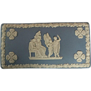 Wedgwood blue white Jasperware box with lid in excellent condition