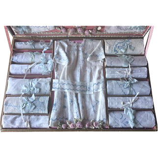 "RARE antique original French box ""Broderie Couture"" GREAT!"