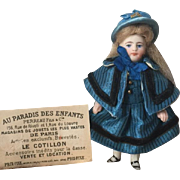 Little French all-bisque pocket doll in original antique box 19th Century!