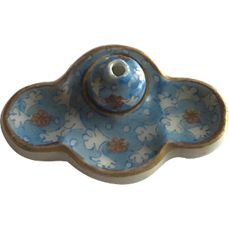 Antique handpainted French doll's house desk porcelaine inkwell miniature