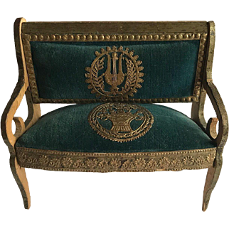 Rare stunning set Napoleon III doll's house chair settee day bed pillow