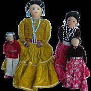 Four 1950's Navajo Native American Cloth Dolls